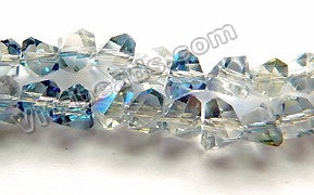 Mystic Light Blue Peacock Crystal  -  Small Irregular Faceted Nuggets 15""