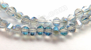 Mystic Light Blue Peacock Crystal  -  Small Faceted Lantern Beads 12""