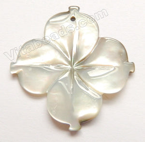 Carved Shell Pendant - Cream 4 petals Flower