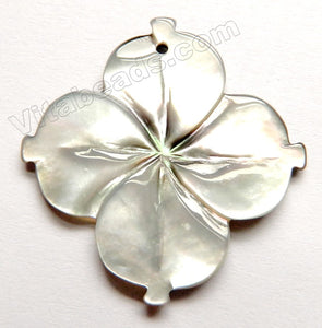 Carved Shell Pendant - Light 4 petals Flower