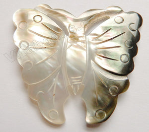 Carved Shell Pendant Butterfly - Cream Grey