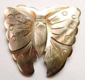 Carved Shell Pendant Butterfly - Brown