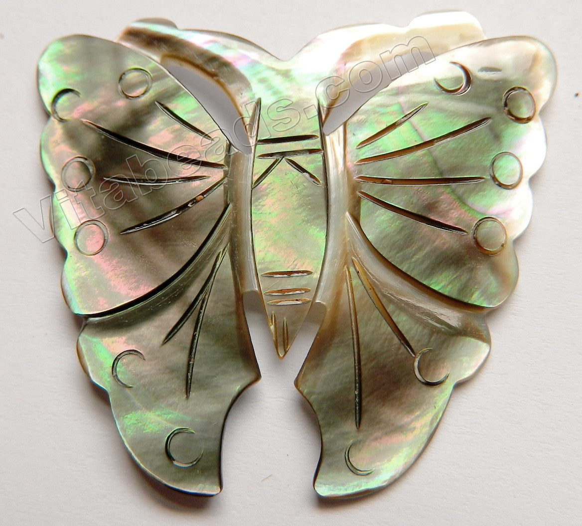 Carved Shell Pendant Butterfly - Light Green Peacock