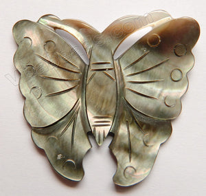 Carved Shell Pendant Butterfly - Light Brown Peacock