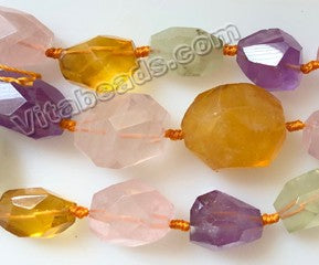 Graduated Mixed Quartz Natural AA, Citrine Amethyst Rose Prehnite - Machine Cut Tumble  19""