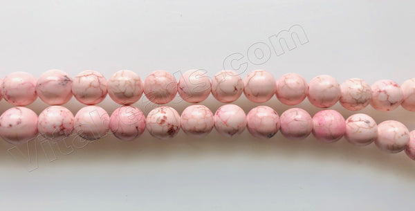 Pale Pink Cracked Turquoise - Smooth Round Beads  16""