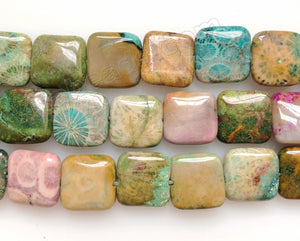 Mixed Fossil Coral Jasper  -  Puff Squares  16""