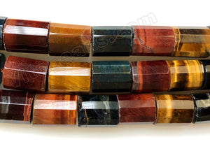 Mixed Red Yellow Blue Tiger Eye  -  Faceted Tube  16""