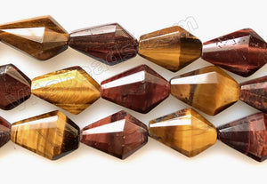 Mixed Red Yellow Tiger Eye  -  Faceted Diamond Shield Triangle  16""