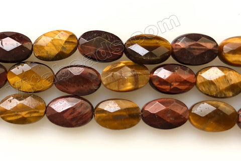 Mixed yellow red Tiger Eye  -  Faceted Oval  16""