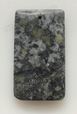 Pendant - Smooth Rectangle Fire New Jade - Dark Grey