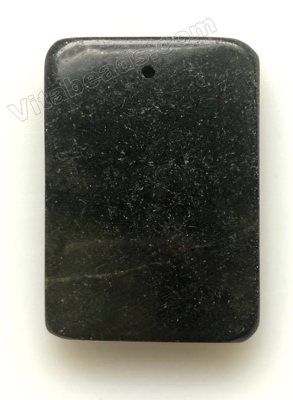 Pendant - Smooth Rectangle - Black Fire New Jade