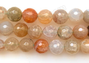 Light Peach Green Fire Agate  -  Faceted Round Beads  16""