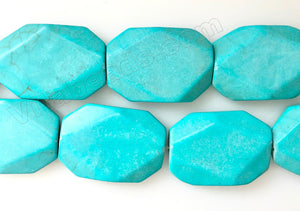 Blue Cracked Turquoise  -  Big Faceted Rectangles 16""
