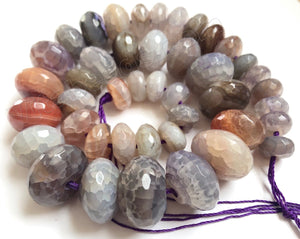 Light Lavender Brown Mixed Fire Agate   Graduated Faceted Rondels 16""