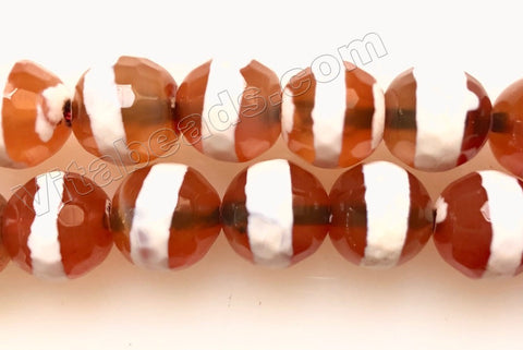 Dzi Carnelian Centered White Stripe -  Faceted Round 14""