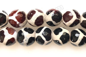 DZi Agate Dark Red Black Agate Zebra  -  Faceted Round
