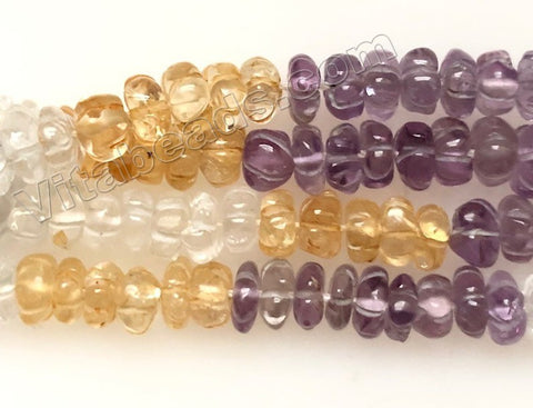 Multi Gemstones 3 Color (Citrine, Amethyst, Crystal)  -  Carved Melon  16""