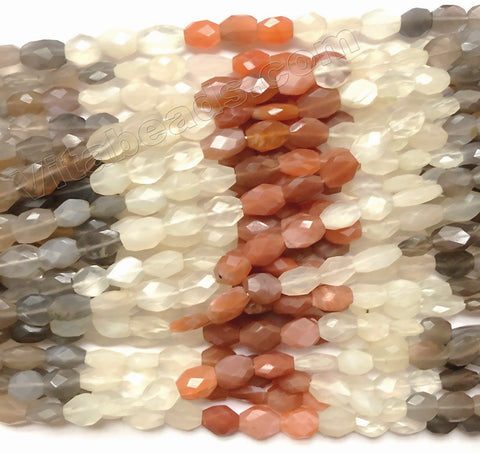 Multi-Color Mixed Moonstone  -  Faceted Oval  14""
