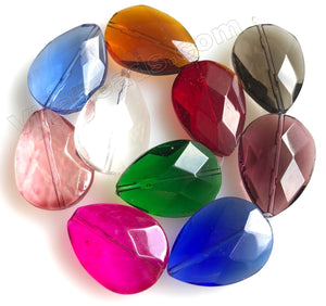 Mixed Crystal  -  10 Color Sampler Set    Faceted Flat Drops