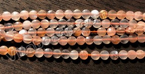 Orange Sunstone Natural AAA  -  Small Diamond Cut Coins 15""
