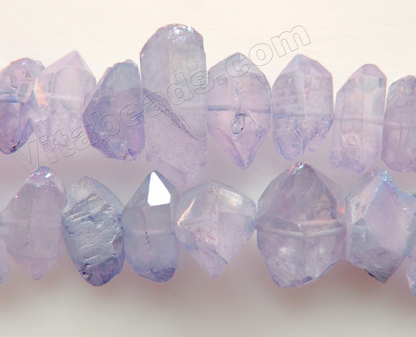 Coated Light Amethyst Crystal Natural AA  -  Machine Cut Center Drilled Pendulum Nuggets  16""