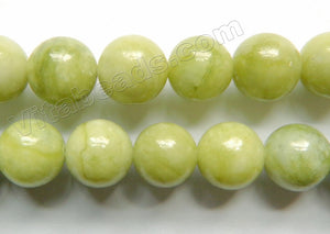 Chinese Chrysophase Jade  -  Smooth Round Beads 15""