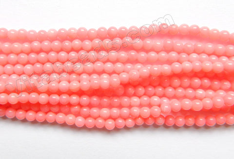 Pink Coral AAA  -  Small Smooth Round Beads 16""