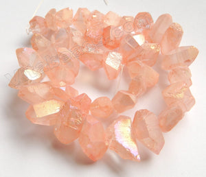 Coated Light Peach Crystal Natural AA  -  Machine Cut Center Drilled Pendulum Nuggets  16""