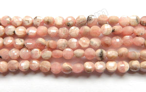 Light Pink Rhodochrosite Natural   -  Small Diamond Cut Coins 15""