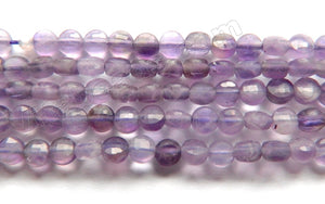 Amethyst Natural AA  -  Small Diamond Cut Coins 15""