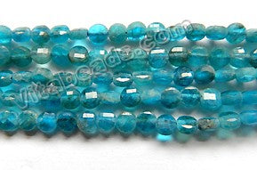 Deep Apatite Natural AA  -  Small Diamond Cut Coins 15""