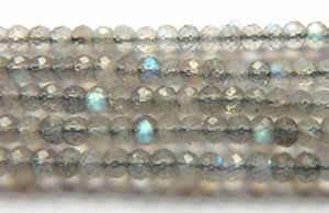 Labradorite Natural Light A  -  Faceted Rondel, Faceted Button  15""