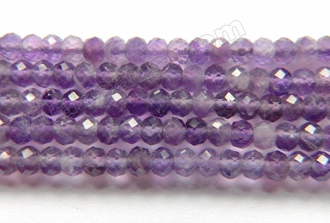 Amethyst Dark Natural AA  -  Small Faceted Rondel, Faceted Button  15""