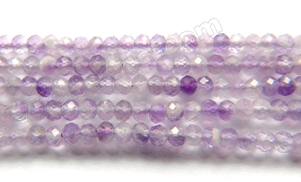 Mixed Amethyst Natural  -  Small Faceted Rondel, Faceted Button   15""