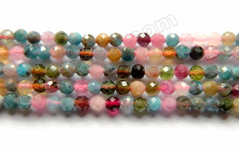 Mixed Apatite Tourmaline Natural AAA  -  Small Faceted Round  15""