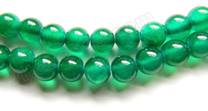 Dark Emerald Semi Transparent Jade  -  Smooth Round Beads  16""