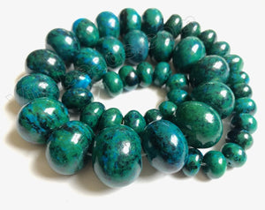 Dyed Azurite Malachite Turquoise   Graduated Smooth Drum Strand 16""