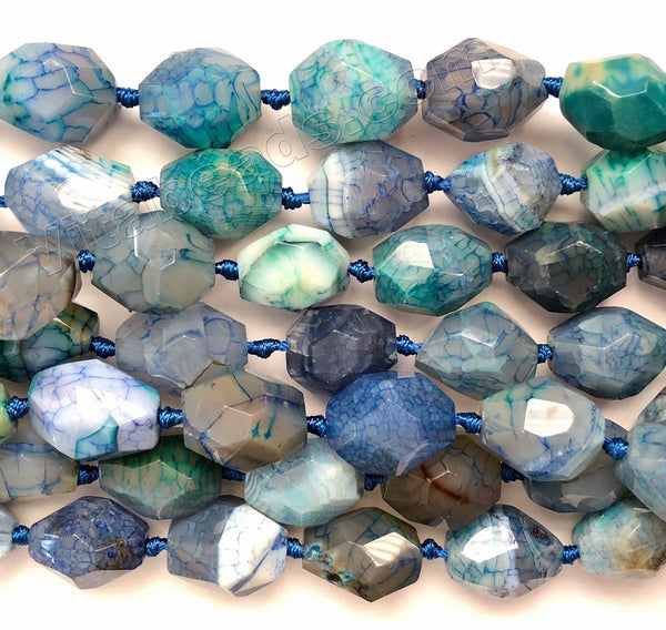 Mixed Blue Green Grey Lilly Fire Agate  -  Machine Cut Nuggets 16""