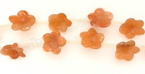 Carved Cherry Flower Strand  -  Red Aventurine Light  16""