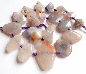 Light Purple Grey Fire Agate  -  Graduated Center Drilled Faceted Flat 16""