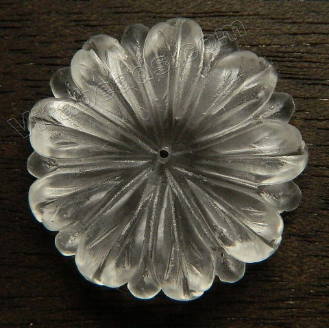 Carved Chamomile Flower Pendant - Clear Crystal Quartz