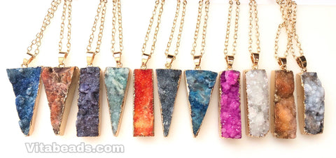 Druzy Long Pendant w/ Gold Chain 19""