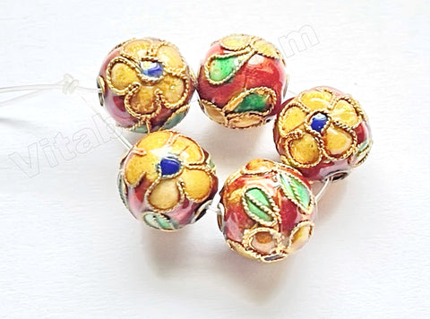Cloisonné Round Beads - Sample    Color:  Brown w/ Yellow Flowers
