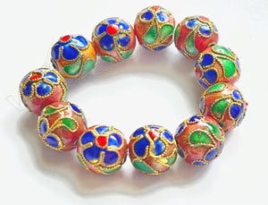 Cloisonné Round Beads - Sample    Color:  Brown w/ Blue Flowers