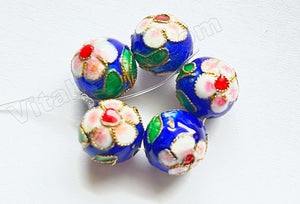 Cloisonné Round Beads - Sample    Color:  Sapphire Blue / Pink Flowers