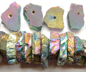Metallic Peacock Plated Natural Crystal  -  Center Drilled Slabs / 10 pc set