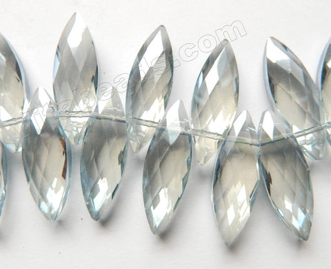 Mystic Grey Crystal   -  Faceted Marquise Top Drilled  6""