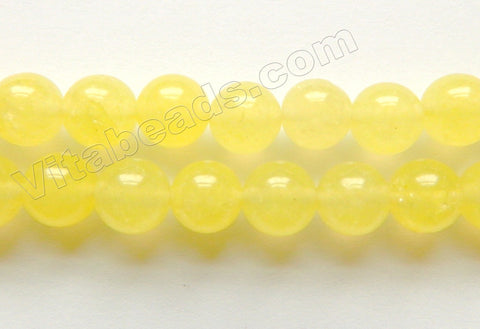 Lemon Semi Transparent Jade  -  Smooth Round Beads  15""