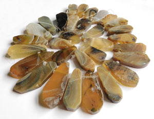 Yellow Brown Amber Sardonix Agate w/ Black    Graduated Top Drilled Long Drops  16""